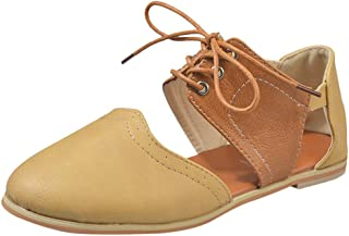 Sandales Femme,Femmes Bout Rond Rome Shoes Hit Couleur Creux Lacets Plates Simples Chaussures Sandales,Bottes et Bottines