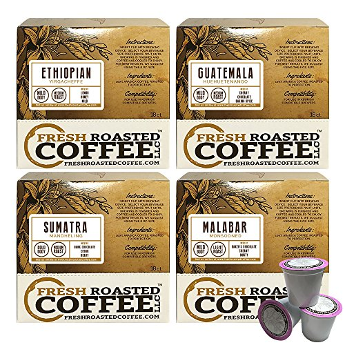 World Traveler Coffee Variety Pack Single-Serve Cups, 72 ct. of Single Serve Capsules for Keurig K-Cup Brewers, Fresh Roasted Coffee LLC.