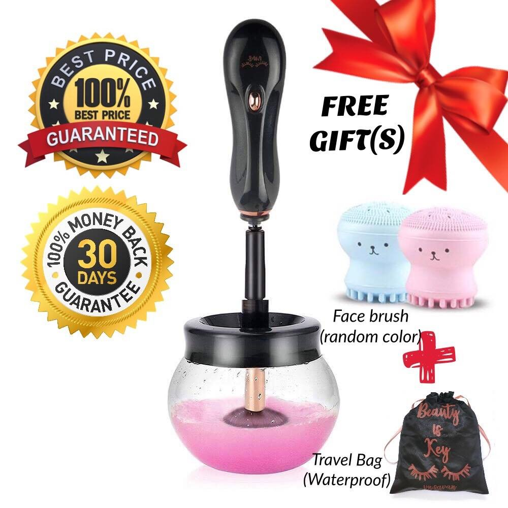 FREE GIFTS Makeup Bag & Face Brush | VNSAVAN Electric Makeup Brush Cleaner and Dryer Machine | Automatic Spinner Cleaner | 360 Rotation with 8 Silicon Holders | Dries Makeup Brushes in Seconds | vn.savan
