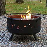 Sunnydaze Cosmic Outdoor Fire Pit - 30 Inch Round Bonfire Wood Burning Patio & Backyard Firepit for Outside with Cooking BBQ Grill Grate, Spark Screen, and Fireplace Poker, Celestial Design