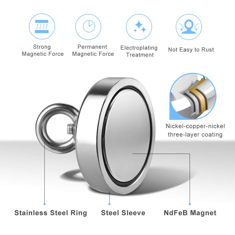 Anpro 280kg Super Strong Neodymium Eyelet Magnet with a Diameter of 75 mm and a Thickness of 15 mm