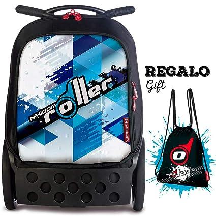 Nikidom Roller Cool Blue, Mochila Escolar con Carro