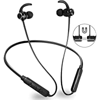 Bluetooth Sport Headphones,GOOJODOQ Bluetooth 4.1 Wireless Stereo & IPX6 Waterproof In-ear Magnetic Sport Earbuds, Wireless Sport Earphones with Built-in Mic Hands-free Calling for iPhone, Samsung, Android Smartphones,Perfect for Gym and Running Workout (Black)