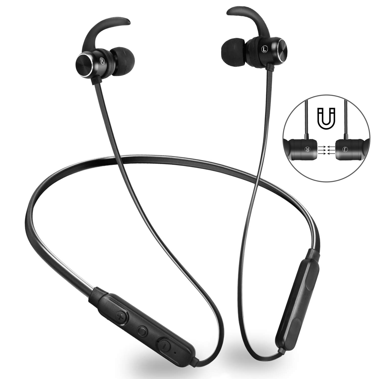 Bluetooth Sport Headphones,GOOJODOQ Bluetooth 4.1 Wireless Stereo & IPX6 Waterproof In-ear Magnetic Sport Earbuds, Wireless Sport Earphones with Built-in Mic Hands-free Calling for iPhone, Samsung, Android Smartphones,Perfect for Gym and Running Workout (B