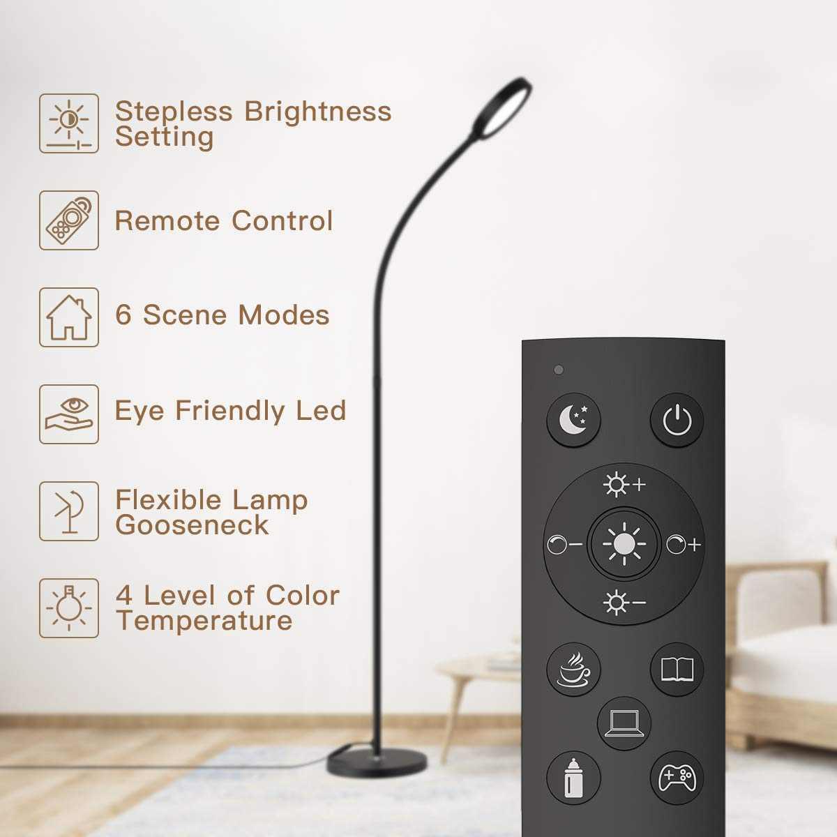 Floor Lamp, dodocool LED Floor Light Remote & Touch Control Floor Lamp and 4 Color Temperatures Standing Lamp with Stepless Dimmer, 2500K-6000K Standing Light for Living Room, Bedroom, Office, Reading