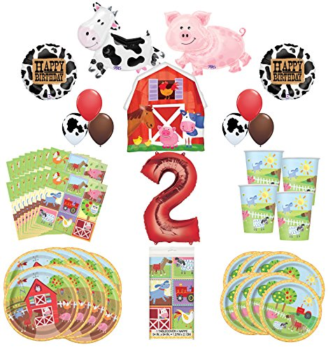 Mayflower Products Farm Animal Party Supplies 8 Guests 2nd Birthday Balloon Bouquet Decorations -