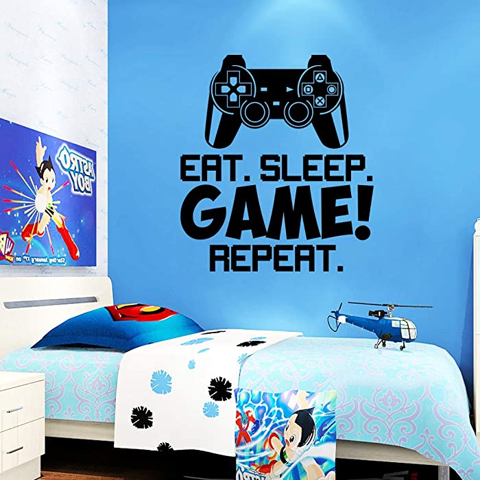 """Gamer Wall Sticker Eat Sleep Game Wall Stickers for Boys Bedroom, Letter DIY Game Wall Decals for Kids Rooms Decoration Art Home Decor (16.5"""" x18.5"""")"""