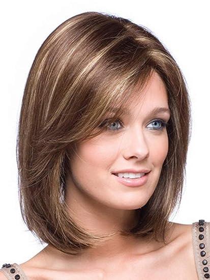 Peluca B-G de cabello humano para mujer con aspecto natural (UW013)