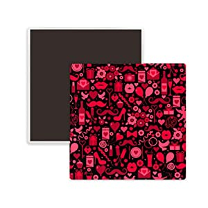 Black Pink Hearts Lips Valentine's Day Square Ceramics Fridge Magnet 2pcs