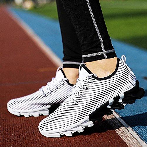Scarpe da uomo sneaker maschio Flyknit Scarpe da corsa autunno slittata luce traspirante tempo libero Scarpe sportive , Bianca , 42