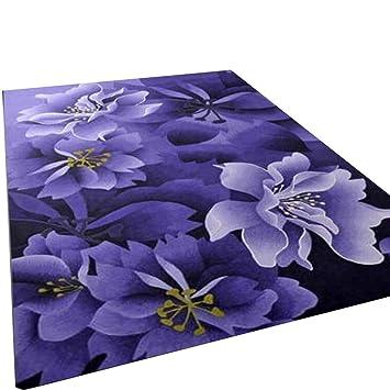 Alfombras modernas Alfombras de puerta Alfombrillas de café Material esponjoso púrpura Flores rectangulares de alta densidad