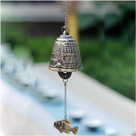 Carillón de viento de hierro fundido, templo colgante, jardín al aire libre, campana, adornos de pared, muebles colgantes, decoración para aleros de balcón y ventanas de dormitorio, campanas de viento: Amazon.es: Hogar