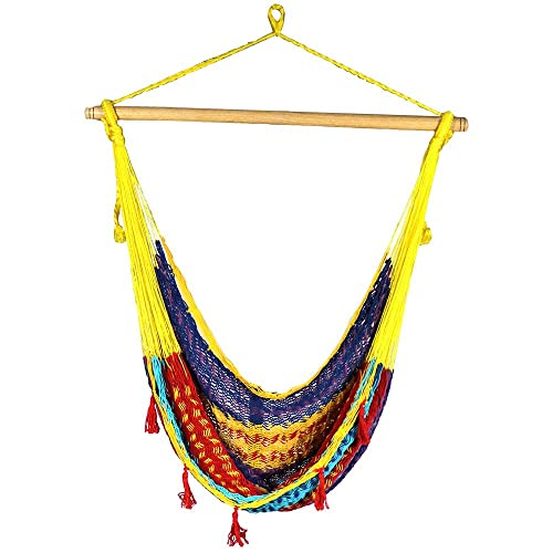 Sunnydaze Extra Large Mayan Hammock Chair, Indoor Outdoor Use, Lightweight Cotton Nylon Rope, Max Weight 330 Pounds, Multi-Color