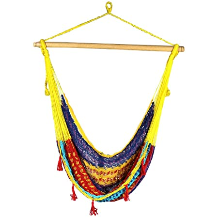 Sunnydaze Large Mayan Hammock Chair, Indoor Outdoor Use, Lightweight Cotton Nylon Rope, Max Weight 220 Pounds, Multi-Color