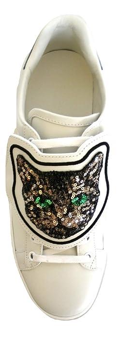 Gucci Scarpe Sneaker Bassa Ace con Patch Gatto in Pelle Bianca 506635 0FI10  9060 (38 8c15754367b0