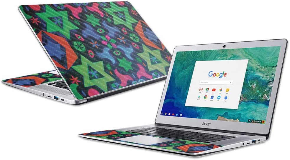 """MightySkins Carbon Fiber Skin for Acer Chromebook 15"""" (2018) - Geometric Rave 