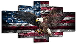 """Retro USA American Flag Bald Eagle US Military Canvas Wall Art Decor Vintage Blue Line Home Decor Pictures for Living Room Bedroom 5 Panel Large Poster Painting Framed Ready to Hang(60""""Wx32""""H, 3)"""