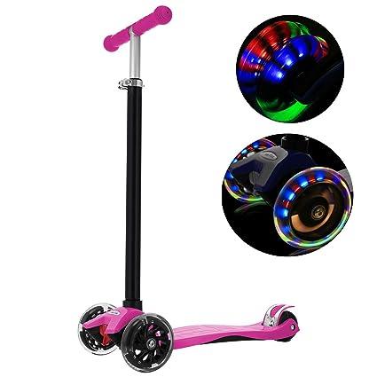 WeSkate Kinderscooter Kinderroller, höhenverstellbarer und Abnehmbarer Lenker Kick Roller Tret-Roller mit PU Rädern, mit 4-bl