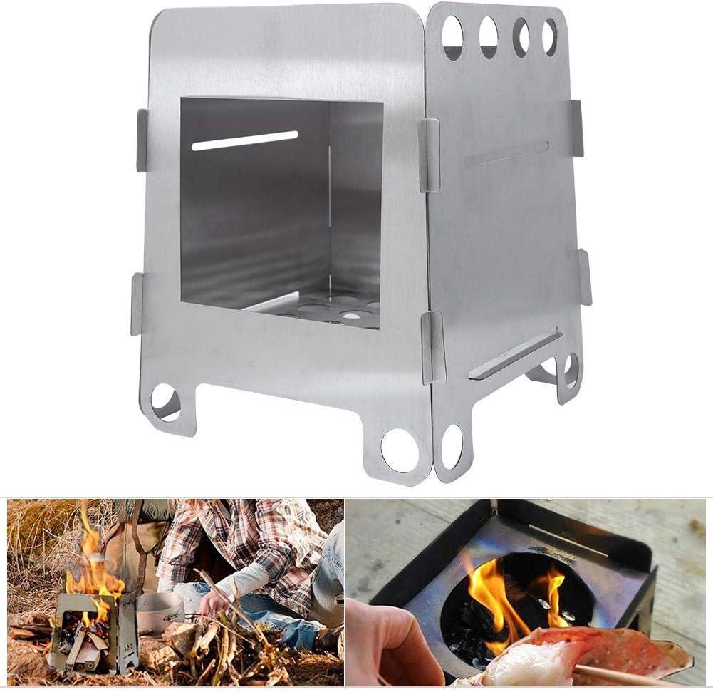 Alomejor Estufa de Camping Estufa de leña Grande Estufa Plegable de Acero Inoxidable Estufa de Horno de carbón para Picnic