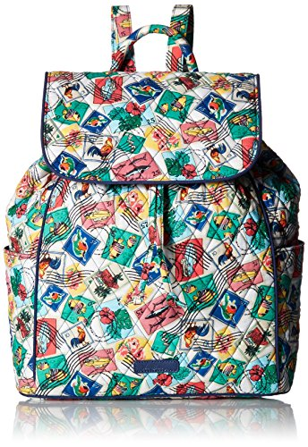 Vera Bradley Women's Drawstring Backpack, Cuban Stamps (Backpack Drawstring Microfiber)