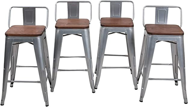 Amazon Com Haobo Home 24 Low Back Metal Counter Stool Height Bar Stools With Wooden Seat Set Of 4 Barstools Silver Furniture Decor