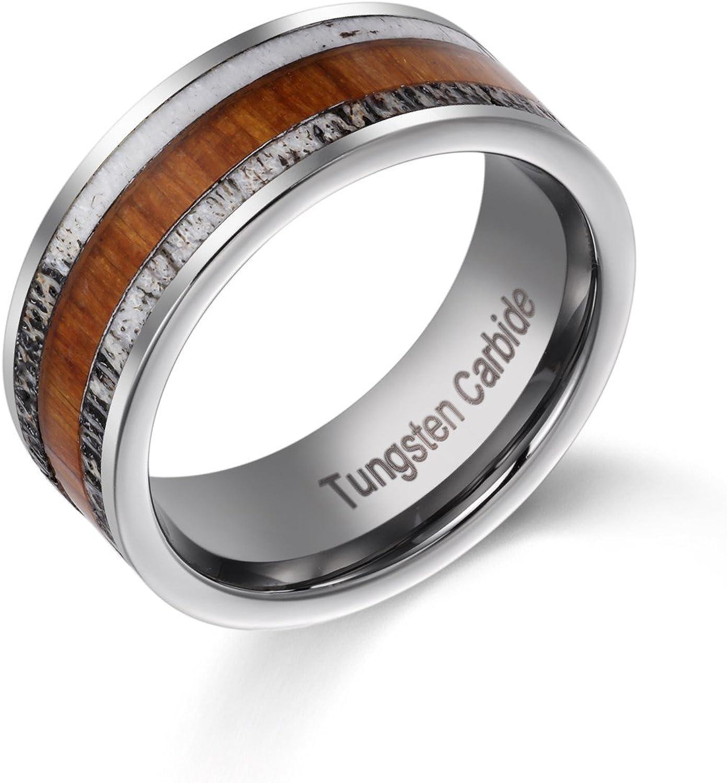 White Deer Antler Jewelry Hunter Hunting Gift Hammered Tungsten Men/'s Women/'s Wedding Ring Deer Antler Ring 8mm Silver Band