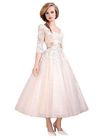 LYDIAGS Tea Length Lace Wedding Prom Ball Gown Evening Formal Party Dress: Amazon.co.uk: Clothing