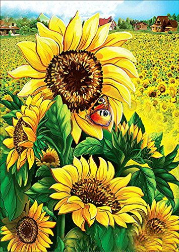 ing by Number Kits, Full Drill Crystal Rhinestone Embroidery Pictures Arts Craft for Home Wall Decor Gift (Sunflower flower, 11.8x15.7inch) ()