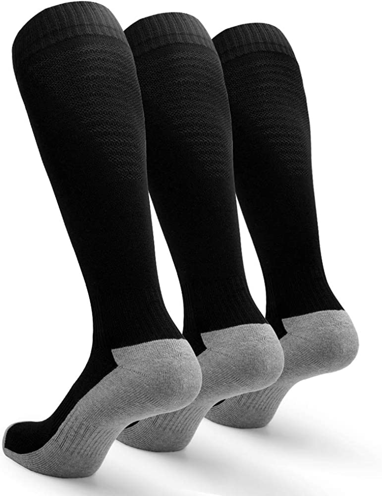 Petrala Soccer Socks Men Cushioned Cotton with Breathable Mesh Knee High Team Sock for Adult Athletic Gifts,3 Pack: Clothing