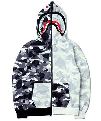 e7ed33d5 Gayo Bape Black/White yin and yang Mosaic Camouflage Shark Men/Women Hoodie  Jacket at Amazon Men's Clothing store: