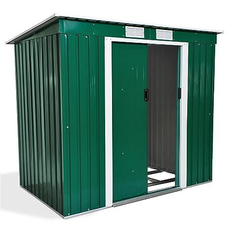 TecTake Caseta jardín metálica de metal para herram invernadero almacén 203x125x177 cm