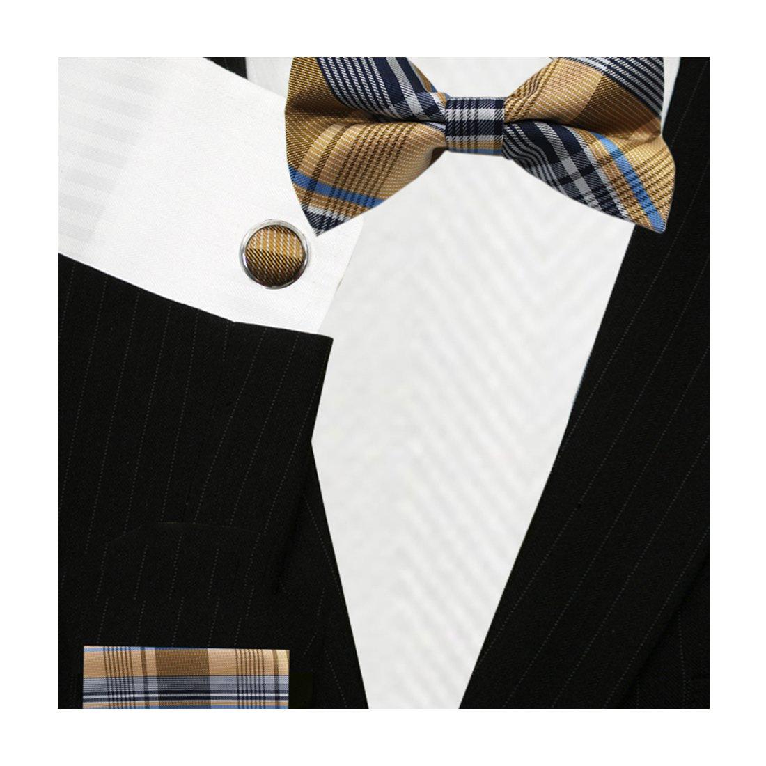 Bestow Harvest Gold Plaid Plaid Bow Tie Set