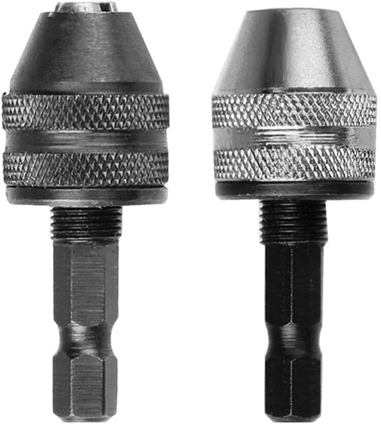 Mandrino autoserrante autobloccante a scatto da 0,5-4mm con cambio rapido Attacco a gambo esagonale 1//4per avvitatore elettrico Nero