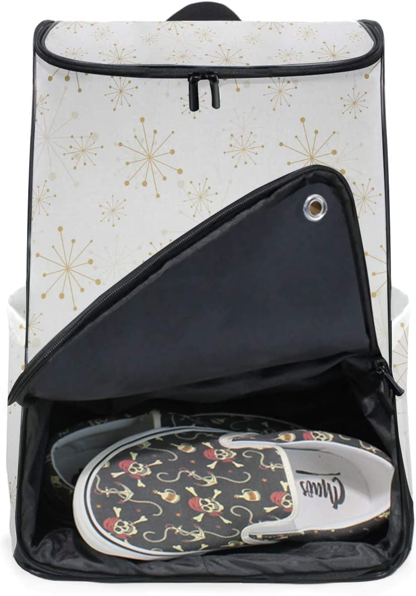 DEZIRO Hand Painted Golden Snowflake Travel Laptop Backpack Business Durable Laptops Backpack for Women /& Men
