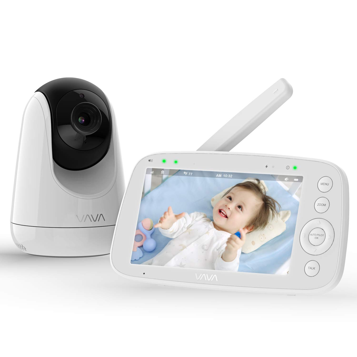 Baby Monitor, VAVA 720P 5'' HD Display Video Baby Monitor with Camera and Audio, IPS Screen, 480ft Range, 4500 mAh Battery, Two-Way Audio, One-Click Zoom, Night Vision and Thermal Monitor V1.1 Version