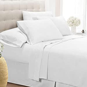 Swift Home Luxury Bedding Collection, Ultra-Soft Brushed Microfiber 6-Piece Bed Sheet Sets, Extremely Durable - Easy Fit - Wrinkle Resistant - (Includes 2 Bonus Pillowcases), King, White