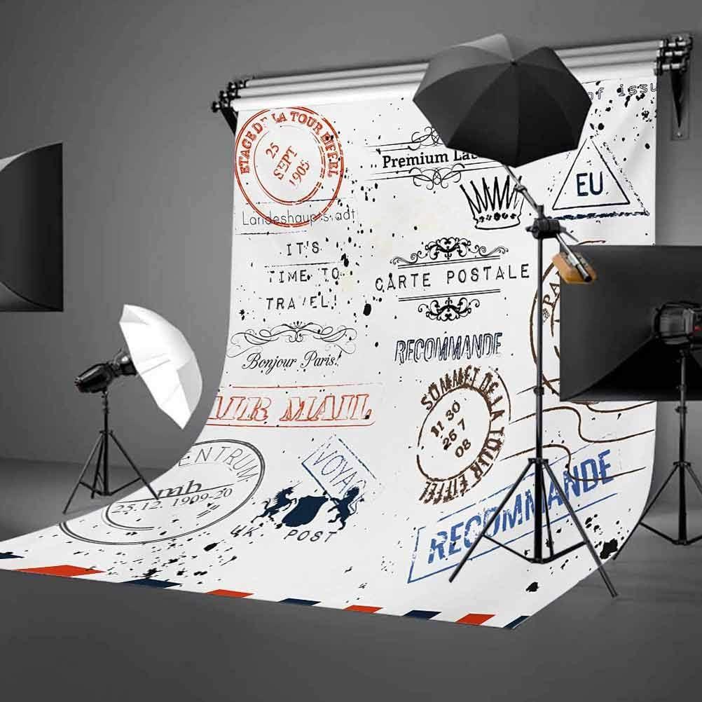 Retro Post Stamps Postage Mail Paris Antique Artistic Design Vocation Traveling Background for Baby Shower Bridal Wedding Studio Photography Pictures Multicolor Vintage 6x8 FT Photography Backdrop