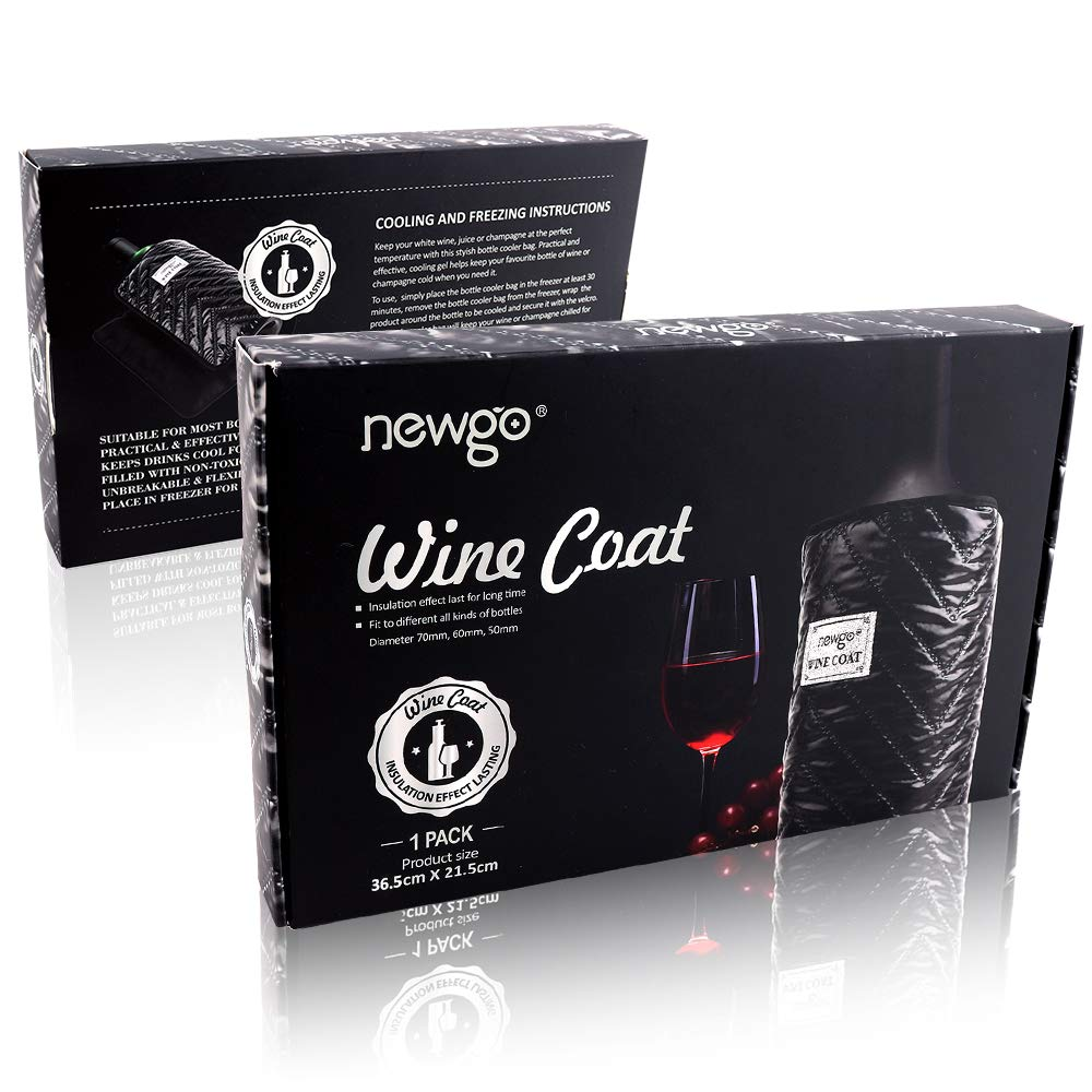Wine Cooler Sleeve with Protector Stylish Wine Chiller Sleeve Ice Pack Keep Wine Cool and Chill for Champagne Burt White Red Wine - Black