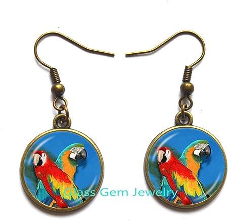 handmade earrings parrot