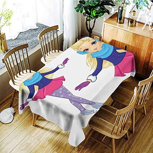 Beihai1Sun Outdoor Tablecloth Rectangular,Fashion Blonde Girl Skates,Modern Minimalist,W52x70L