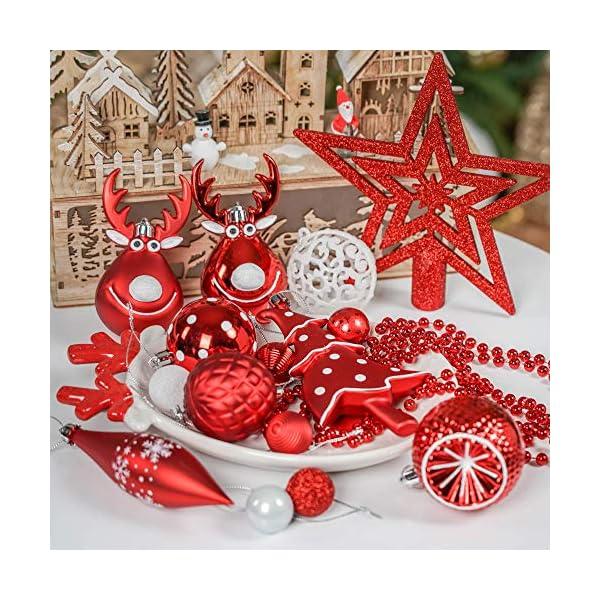 Victor's Workshop Addobbi Natalizi 92 Pezzi di Palline di Natale, 3-15 cm Tradizionali Ornamenti di Palle di Natale Infrangibili Rossi e Bianchi per la Decorazione Dell'Albero di Natale 7 spesavip