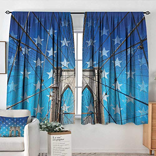 Customized Curtains New York,NYC Bridge with Stars Home to The Empire States Building Times Square Other Sites, Blue Grey,Wide Blackout Curtains, Keep Warm Draperies, Set of 2 42