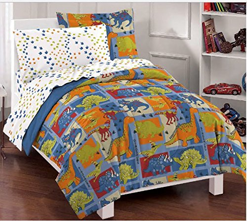 Dream Factory Dino Blocks Blue Prints Boys Comforter Set, Full