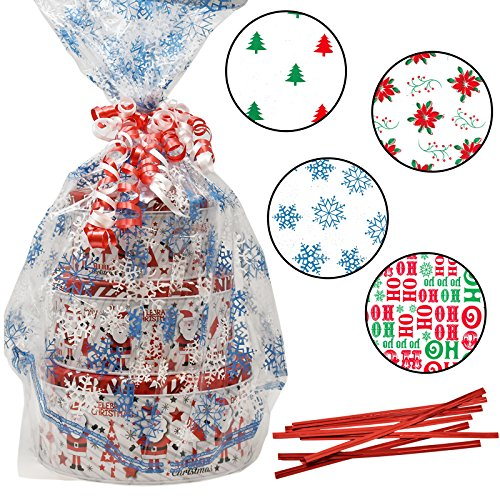 Plastic Jumbo Christmas Cello Basket Bags, Christmas Cookie Tray Bags Pack of 8 Holiday Goody Party Favor Wrapping Bags 22