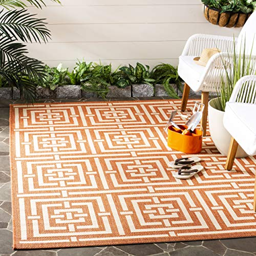Safavieh Courtyard Collection CY6937-21 Terracotta and Cream Indoor/ Outdoor Area Rug (8' x 11')