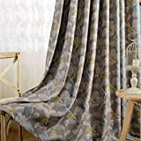 Room Darkening Curtains Grey Drapes – KoTing 1 Panel Elegant Grey Leaf Short Curtains Grommet Top Drapes for Bedroom 84 inch Long 50 84 2017 NEW Review