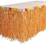 RINCO Luau Natural Color Grass Table Skirt Decoration with Tropical Flowers, 9' x 29'' 2 PACK