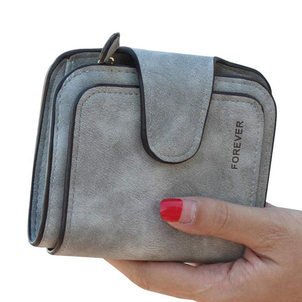 Women RFID Blocking Leather Small Bifold Wallet Card Holder Zipper Coin Pocket (Grey)