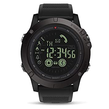 ZNSB Mens Sports Smartwatch Waterproof IP67 Bluetooth SMS Call Remote Camera Calorie Counter Pedometer Watch for Android iPhone,Black
