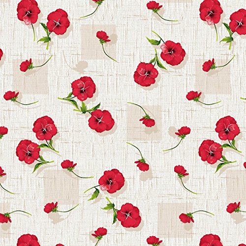 (Round Tablecloth 55-inch wide | RED Floral Garden Vinyl Indoor & Outdoor Table Cover)